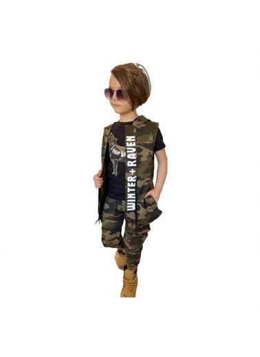 Quzucuk Kids Erkek Çocuk Kurt Figürlü Kamuflaj Yelekli Takım Yeşil